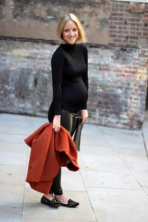 black Topshop loafers - burnt orange H&M Trend coat - black Zara leggings