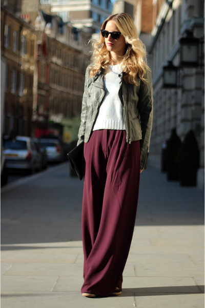 maroon acne pants - heather gray Bershka jacket - silver H&M sweater