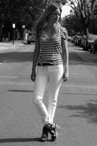 white DL 1961 jeans - white striped H&M t-shirt - black leather H&M belt - black