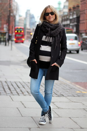 black H&M blazer - periwinkle H&M jeans - ivory H&M sweater - gray asos scarf