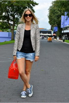 heather gray Zara jacket - carrot orange Furla bag - periwinkle Zara shorts