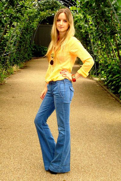 gold H&M shirt - blue Habitual jeans - gold Ray Ban sunglasses