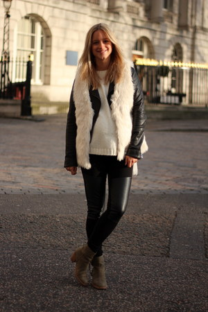ivory H&M vest - army green acne boots - black PAUW jacket - ivory Zara sweater