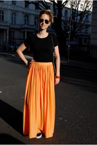 carrot orange Zara skirt - black Mulberry bag - gold ray-ban sunglasses