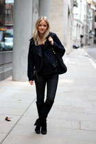 black Zara boots - navy Forever21 jacket - black H&M Trend sweater