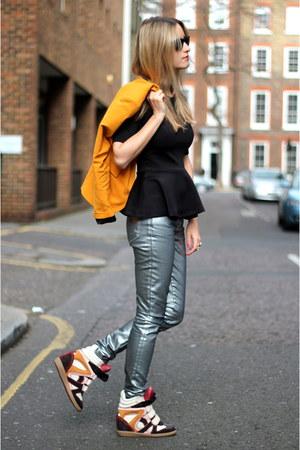 ivory Isabel Marant sneakers - silver Zara jeans - mustard Zara blazer