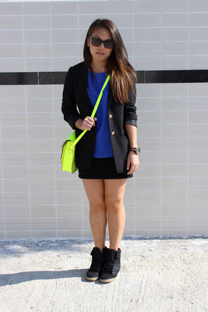 H&M blazer - the cambridge satchel company bag - H&M skirt - cotton on blouse