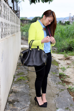 black Topshop jeans - yellow Zara jacket - sky blue J Crew shirt