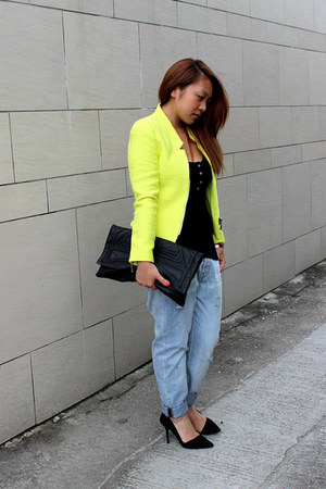 yellow Zara jacket - sky blue Zara jeans - black Bracher Emden bag