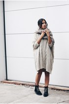ivory sweater Mango dress - black ponyhair effect Topshop boots