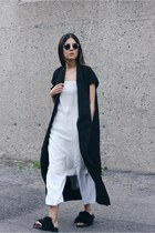 ivory cropped Zara pants - black duster Choies jacket - white asos top