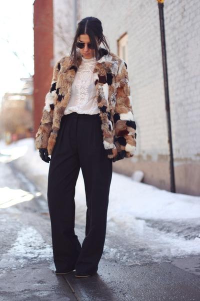 brown rabbit fur vintage coat - ivory embroidered Zara shirt