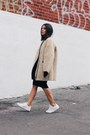 Black-front-row-shop-dress-eggshell-shearling-h-m-coat