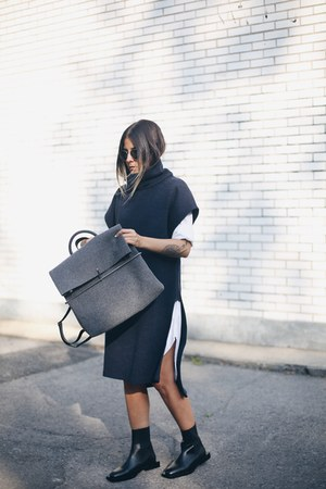 white shirt dress COS shirt - black leather COS boots - navy COS dress