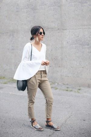 white bell sleeve Eight Slate top - black Stylenanda bag