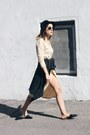 Cream-asos-dress-black-slides-zara-flats