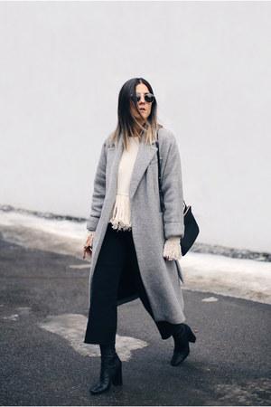 off white fringe Lamoda101 sweater - black sock boots Zara boots