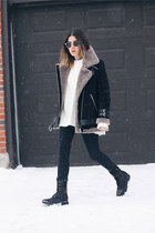 tan Stylenanda jacket - black Dolce Vita boots - white Zara sweater