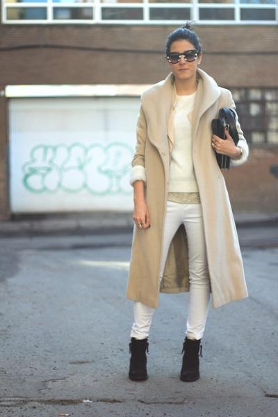 white mohair Oysho sweater - black Topshop boots