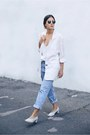 Cream-vintage-blazer-white-asos-top-periwinkle-cos-pumps