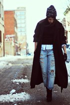 black H&M boots - dark gray vintage coat - sky blue asos jeans