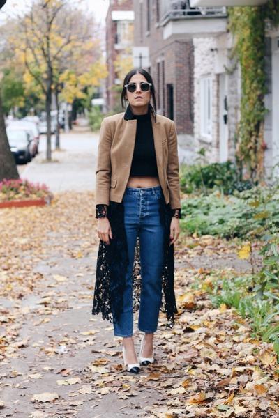 navy girlfriend Topshop jeans - brown Topshop blazer