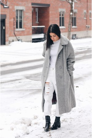 white ripped Topshop jeans - black patent leather Zara boots