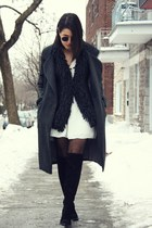 black Zara boots - cream Zara dress - gray Choies coat