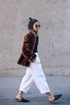 crimson mouton fur vintage coat - white oakfort pants