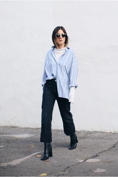 black Zara boots - black citizens of humanity jeans - light blue H&M shirt