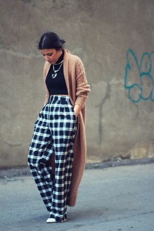 tawny maxi mohair Topshop cardigan - black Zara sweater - white asos pants