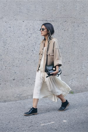 ivory pleated Vintage Ralph Lauren skirt - camel H&M jacket - black Zara flats