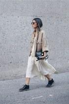 ivory pleated Vintage Ralph Lauren skirt - camel H&M jacket - black Zara flats