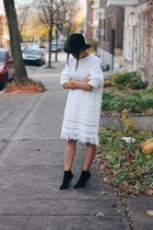 black fedora Urban Outfitters hat - white fringed Token MTL dress