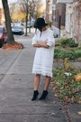White-fringed-token-mtl-dress-black-fedora-urban-outfitters-hat