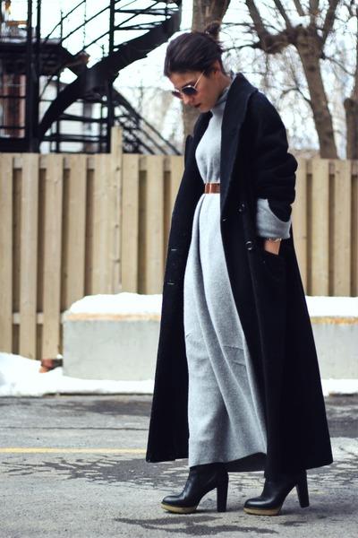 heather gray felt Margiela for H&M dress - black vintage coat