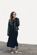 navy knit Zara dress - black leather Mango jacket - heather gray asos sneakers