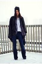 white cotton Zara t-shirt - dark gray waterfall vintage coat