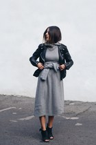 black Mango jacket - heather gray H&M Margiela dress - black Aldo heels