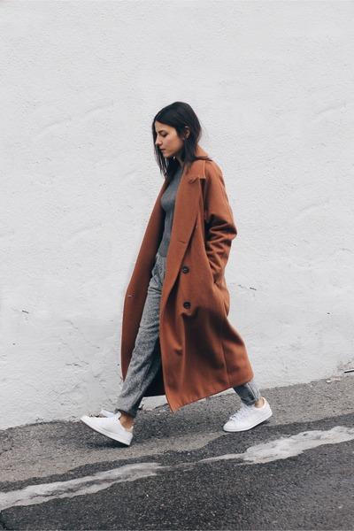 brick red wool Stylenanda coat - gray Beymen sweater - heather gray asos pants