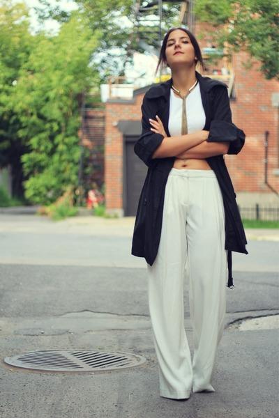 white cropped Zara top - dark gray Local store coat - white Mango pants