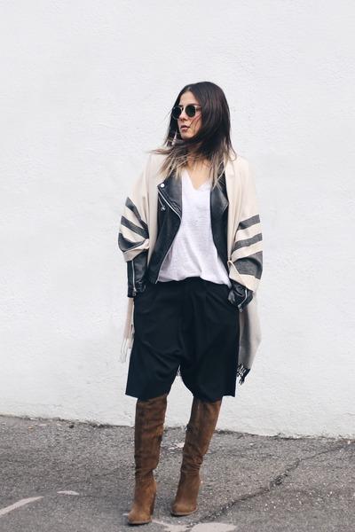 black leather Mango jacket - light brown knee high Zara boots