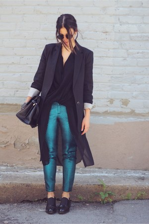 turquoise blue metallic Topshop pants - black Zara blazer