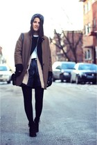 black Topshop boots - brown Topshop coat - black H&M jacket