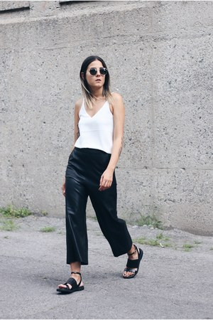 white camisole Topshop top - black faux leather Front Row Shop pants