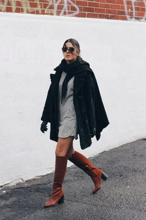 heather gray Mango dress - crimson Zara boots - black persian lamb vintage coat