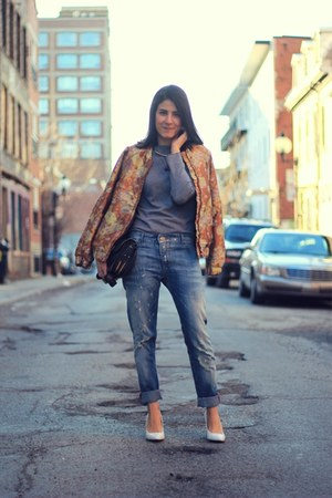 bronze jacquard bomber H&amp;M jacket - sky blue boyfriend Mango jeans
