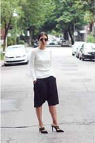 eggshell Zara sweater - black culottes Project for Sunday shorts