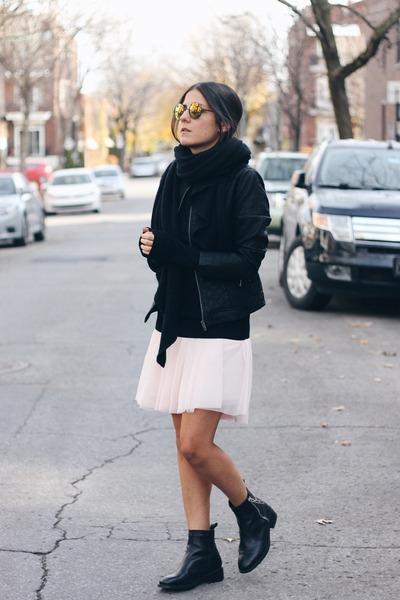 black Smart Set jacket - black Zara boots - black Smart Set sweater
