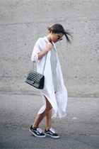 black reissue Chanel bag - heather gray Mango dress - off white dress H&M shirt